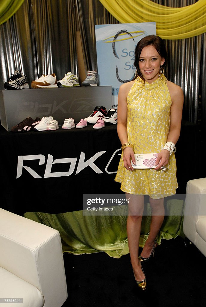 Actress Hilary Duff poses with the Reebok display in the Distinctive Assets gift lounge during the 20th annual Kid's Choice Awards at Pauley Pavilion...