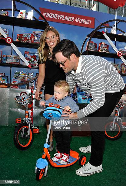 Actress Hilary Duff son Luca Cruz Comrie and husband Mike Comrie at the worldpremiere of 'Disney's Planes' presented by Target at the El Capitan...