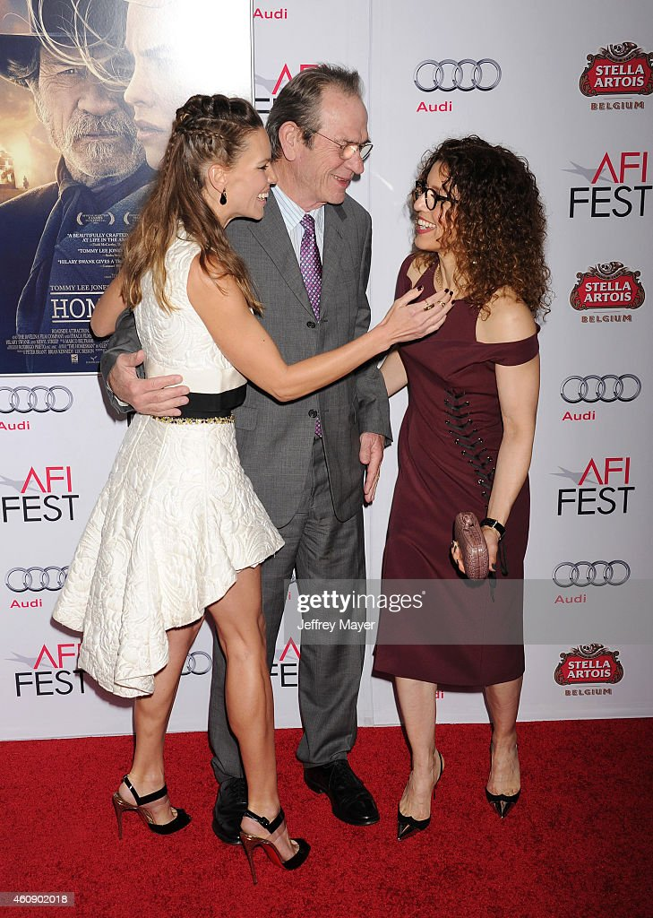 Actress Hilary Swank actor/director Tommy Lee Jones and wife Dawn LaurelJones attend the 'The Homesman' premiere during AFI FEST 2014 presented by...