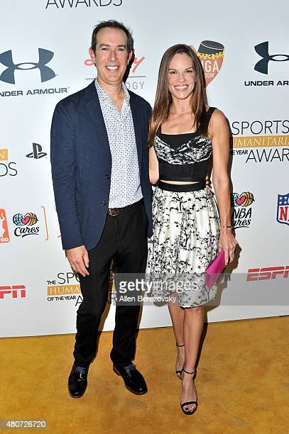 Actress Hilary Swank and CEO of the Conga Room Brad Gluckstein arrive at the Sports Humanitarian of the Year Awards 2015 at The Conga Room at LA Live...