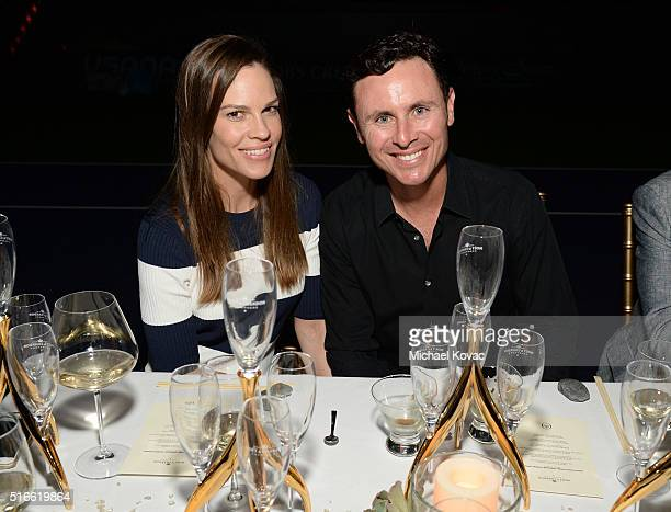 Actress Hilary Swank and Ruben Torres attend The Moet and Chandon Inaugural 'Holding Court' Dinner at The 2016 BNP Paribas Open on March 19 2016 in...