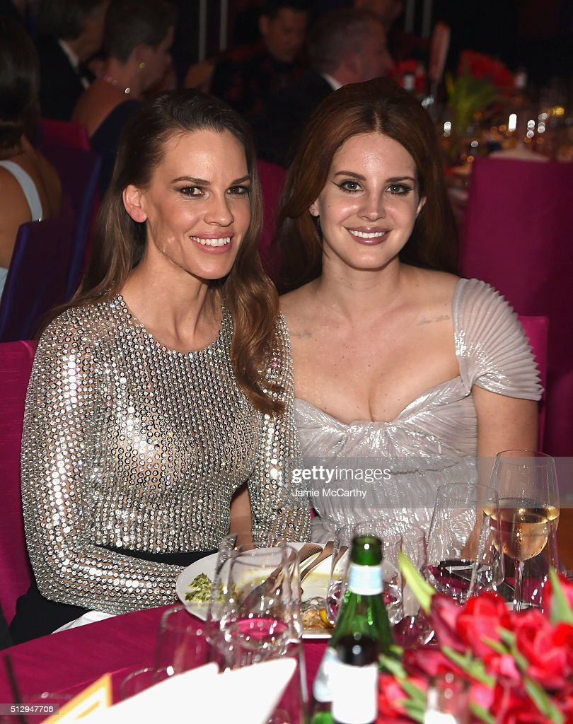Actress Hilary Swank and singer Lana Del Rey attend the 24th Annual Elton John AIDS Foundation's Oscar Viewing Party at The City of West Hollywood...