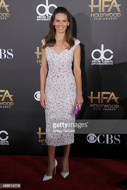 Actress Hilary Swank arrives at the 18th Annual Hollywood Film Awards at The Palladium on November 14 2014 in Hollywood California