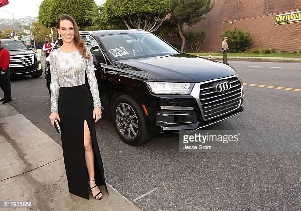 Actress Hilary Swank arrives in an Audi Q7 to the 24th Annual Elton John AIDS Foundation's Oscar Viewing Party at The City of West Hollywood Park on...