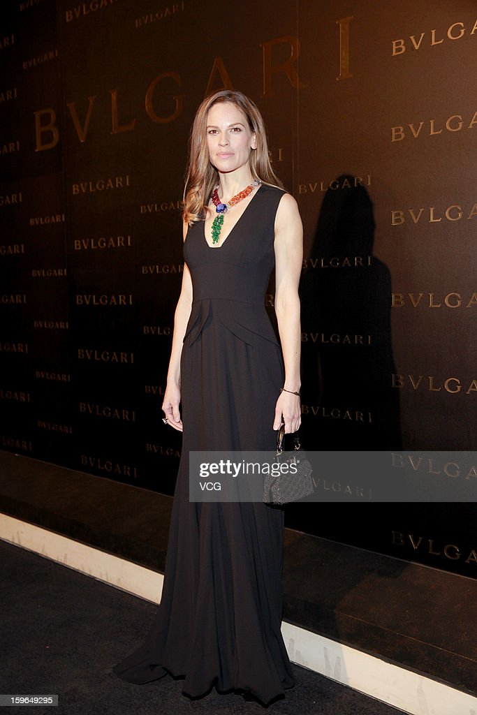 Actress <a gi-track='captionPersonalityLinkClicked' href=/galleries/search?phrase=Hilary+Swank&family=editorial&specificpeople=201692 ng-click='$event.stopPropagation()'>Hilary Swank</a> attends Bulgari store opening reception on January 17, 2013 in Hong Kong, Hong Kong.