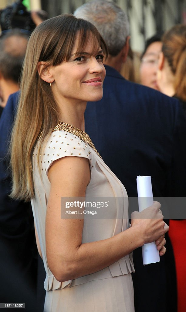 Actress <a gi-track='captionPersonalityLinkClicked' href=/galleries/search?phrase=Hilary+Swank&family=editorial&specificpeople=201692 ng-click='$event.stopPropagation()'>Hilary Swank</a> attends Mariska Hargitay's Star ceremony on The Hollywood Walk of Fame held on November 8, 2013 in Hollywood, California.