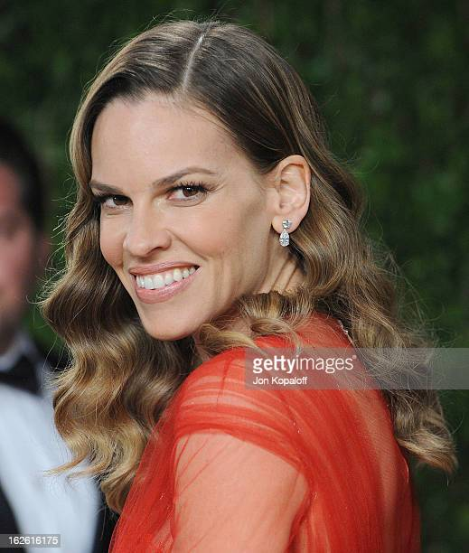 Actress Hilary Swank attends the 2013 Vanity Fair Oscar party at Sunset Tower on February 24 2013 in West Hollywood California
