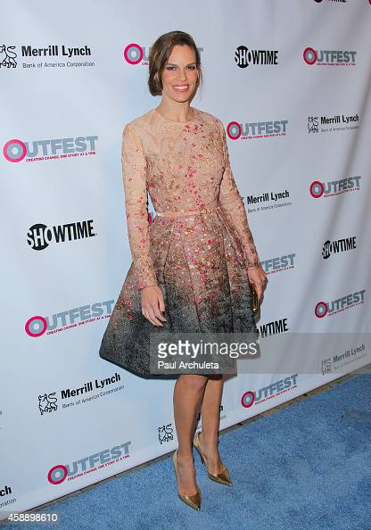 Actress Hilary Swank attends the 2014 Outfest Legacy Awards at Vibiana on November 12 2014 in Los Angeles California
