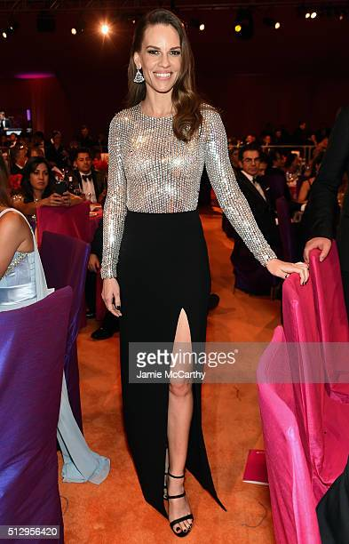 Actress Hilary Swank attends the 24th Annual Elton John AIDS Foundation's Oscar Viewing Party at The City of West Hollywood Park on February 28 2016...