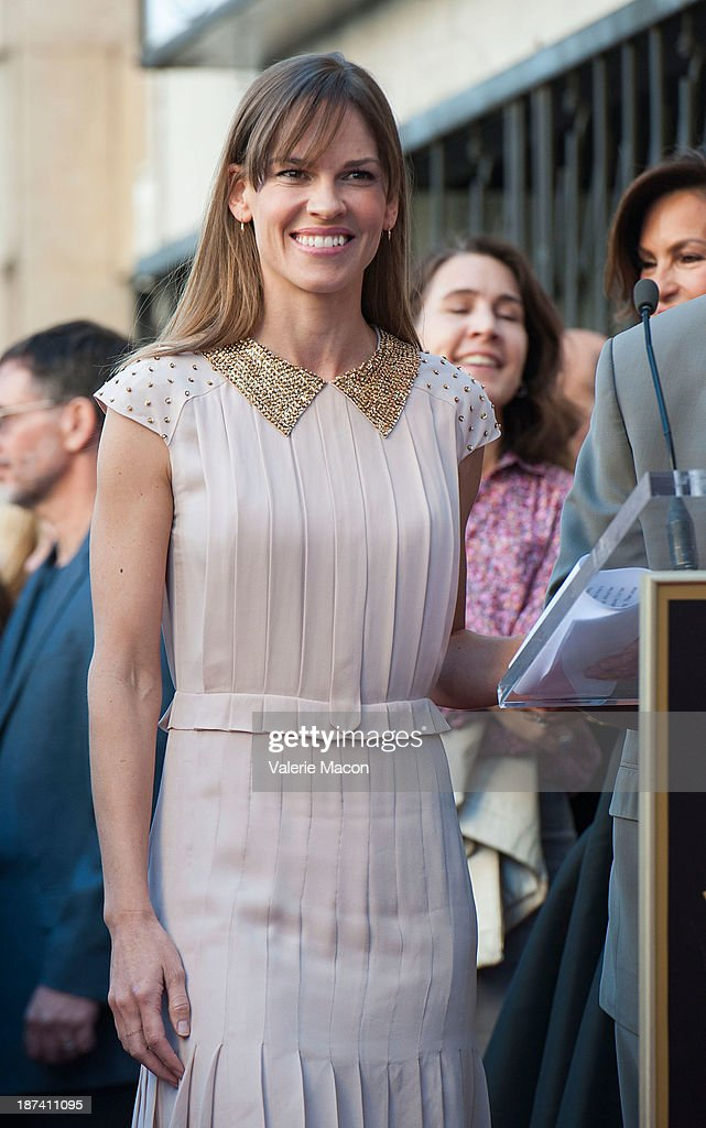 Actress Hilary Swank attends the ceremony honoring Mariska Hargitay with a Star on The Hollywood Walk of Fame on November 8, 2013 in Hollywood, California.