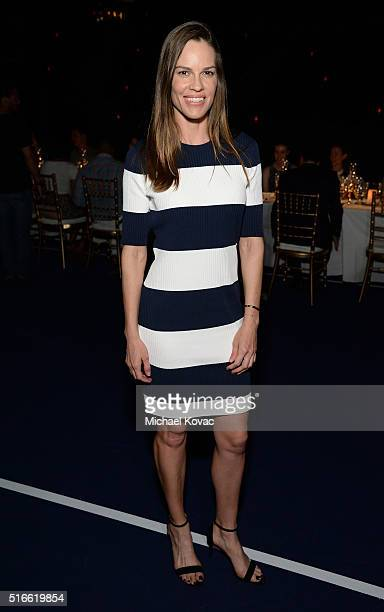 Actress Hilary Swank attends The Moet and Chandon Inaugural 'Holding Court' Dinner at The 2016 BNP Paribas Open on March 19 2016 in Indian Wells...