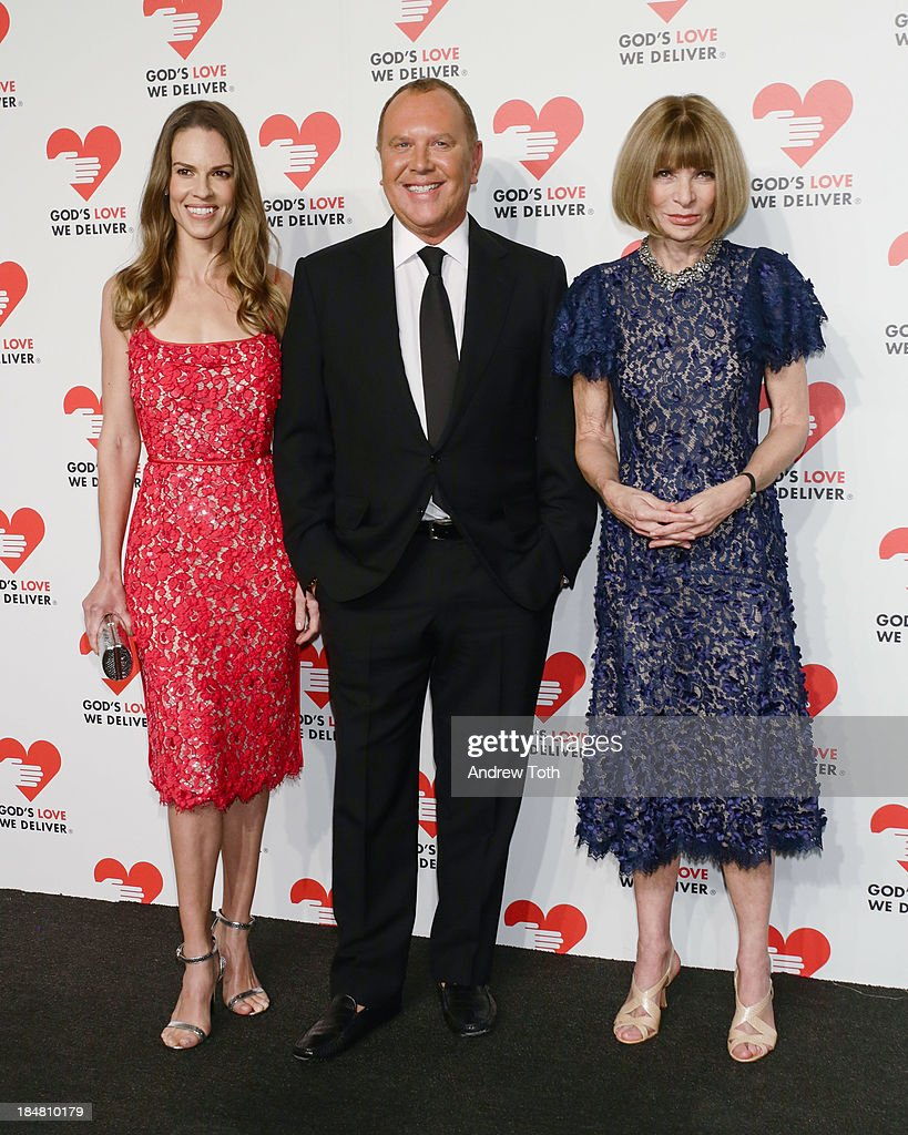 Actress Hilary Swank, Designer Michael Kors and Vogue editor-in-chief Anna Wintour attend the 2013 God's Love We Deliver 2013 Golden Heart Awards Celebration at Spring Studios on October 16, 2013 in New York City.