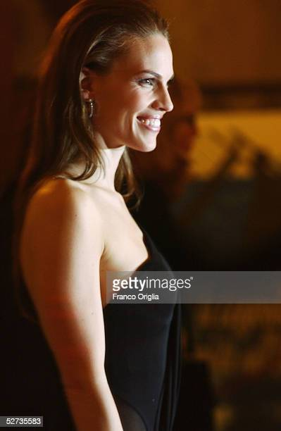 Actress Hilary Swank poses as she arrives at the David di Donatello Award ceremony April 29 2005 in Rome Italy The show is aired by Rai 1 channel