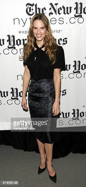 Actress Hilary Swank poses for photographers during the New York Times Arts and Leisure Weekend photoop at CUNY Graduate Center January 8 2005 in New...