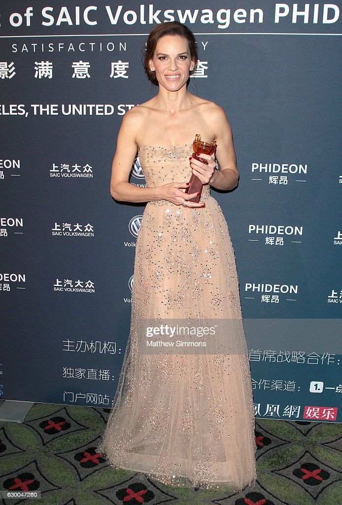 Actress Hilary Swank poses in the press room at the 21st Annual Huading Global Film Awards at The Theatre at Ace Hotel on December 15, 2016 in Los Angeles, California.