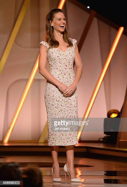 Actress Hilary Swank stands onstage during the 18th Annual Hollywood Film Awards at The Palladium on November 14 2014 in Hollywood California