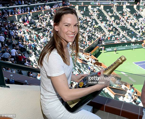 Actress Hilary Swank visits The Moet and Chandon Suite At The 2016 BNP Paribas Open on March 20 2016 in Indian Wells California
