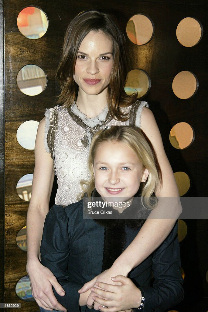 Actress Hilary Swank who is making her Broadway debut as Annie Sullivan and Skye McCole Bartusiak who plays Helen Keller attend a media conference...