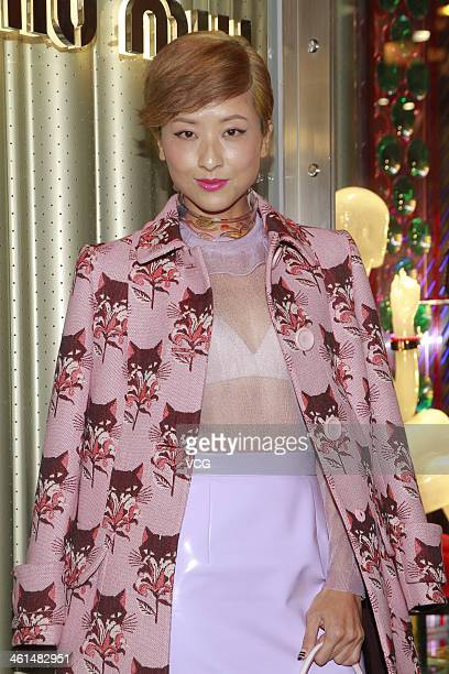 Actress Hilary Tsui attends Miu Miu store opening ceremony on January 8 2014 in Hong Kong Hong Kong
