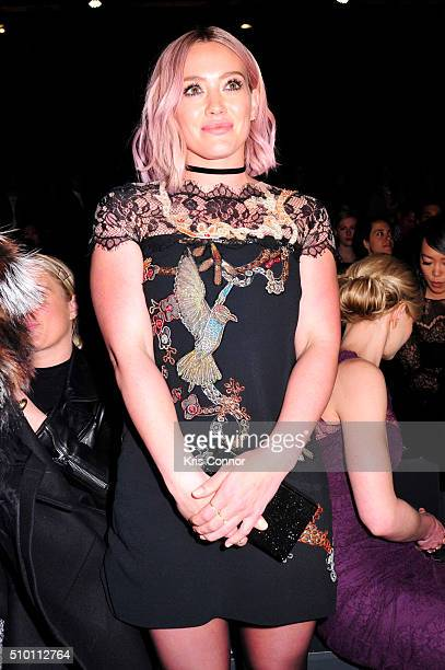 Actress Hillary Duff poses during the Monique Lhuillier 2016 show during New York Fashion Week at The Arc Skylight at Moynihan Station on February 13...