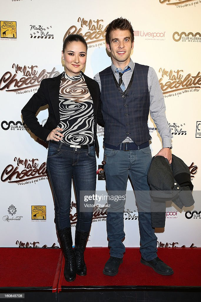 Actress Hiromi Hayakawa and Mario Sepúlveda attend the 'Me Late Chocolate' Mexico City premiere at Cinemex WTC on February 6, 2013 in Mexico City, Mexico.