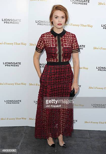 Actress Holland Roden arrives at the Los Angeles Premiere 'She's Funny That Way' at Harmony Gold on August 19 2015 in Los Angeles California