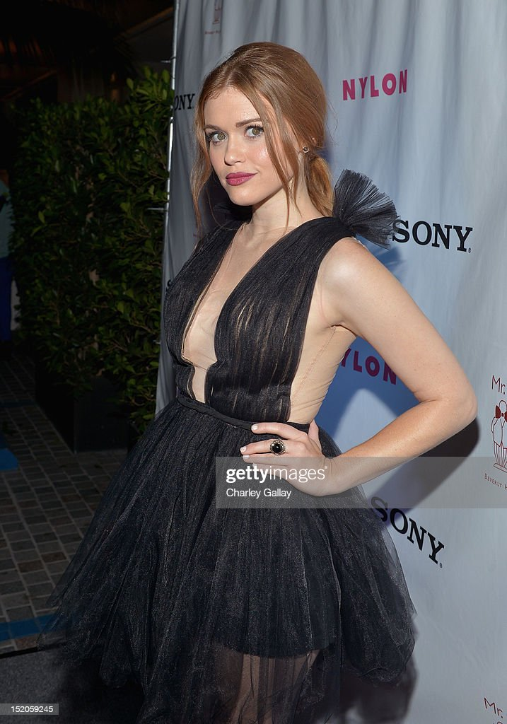 Actress Holland Roden arrives at the NYLON and Sony X Headphones September TV issue launch event with cover star, Lea Michele at Mr. C Beverly Hills on September 15, 2012 in Beverly Hills, California.