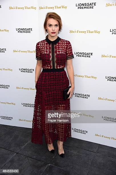 Actress Holland Roden arrives at the Premiere Of Lionsgate Premiere's 'She's Funny That Way' at Harmony Gold on August 19 2015 in Los Angeles...
