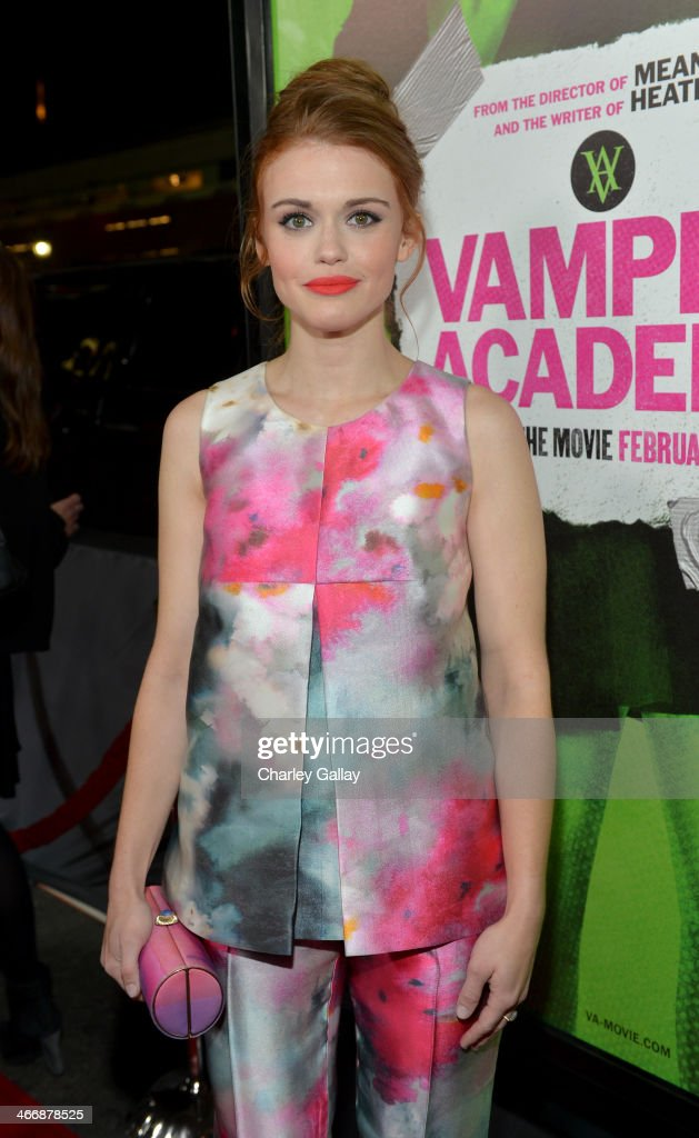 Actress Holland Roden arrives at The Weinstein Company's premiere of 'Vampire Academy' at Regal 14 at L.A. Live Downtown on February 4, 2014 in Los Angeles, California.