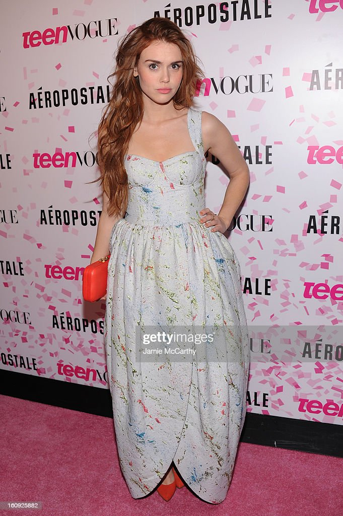 Actress Holland Roden attends the 10th Anniversary of Teen Vogue and Aeropostale's Celebration of Chloe Grace Moretz's Sweet 16 at Aeropostale Times Square on February 7, 2013 in New York City.