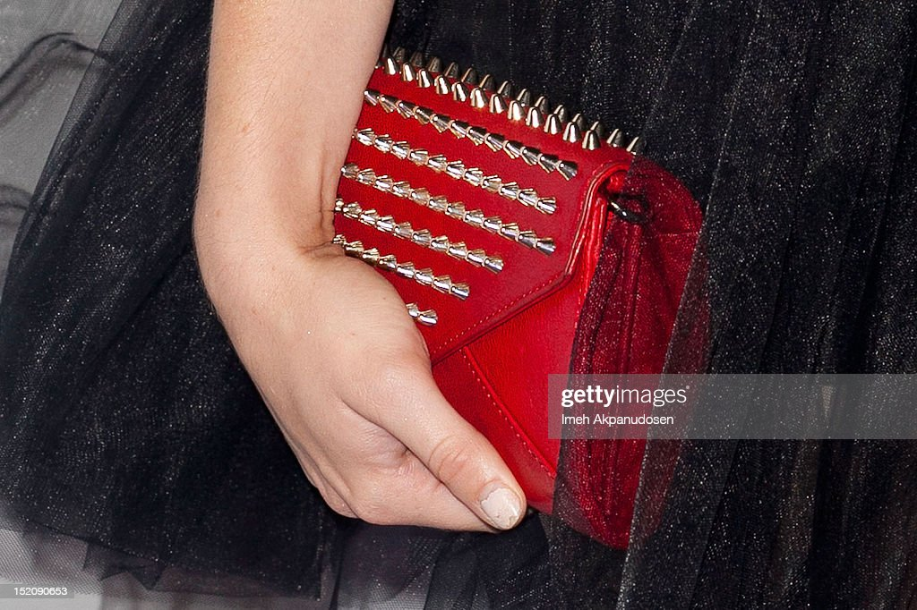 Actress Holland Roden (clutch detail) attends the NYLON And Sony X Headphones September TV Issue Party at Mr. C Beverly Hills on September 15, 2012 in Beverly Hills, California.