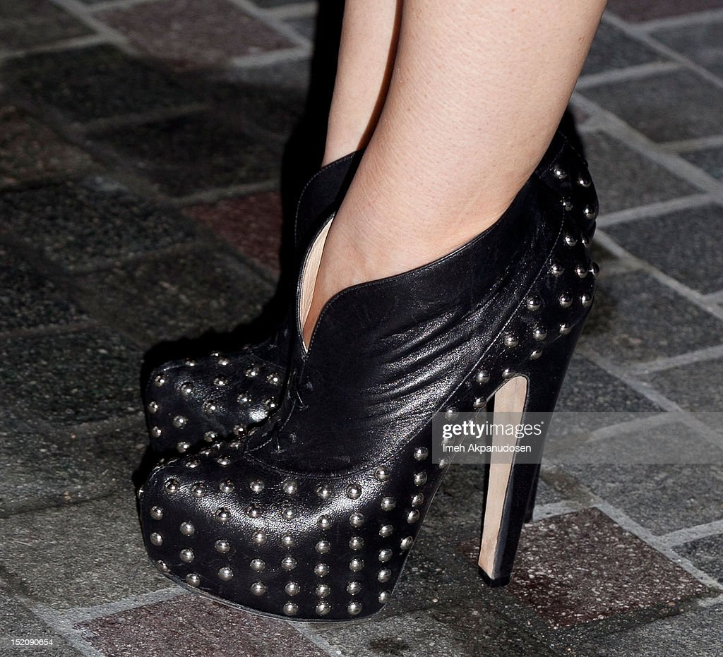 Actress Holland Roden (shoe detail) attends the NYLON And Sony X Headphones September TV Issue Party at Mr. C Beverly Hills on September 15, 2012 in Beverly Hills, California.