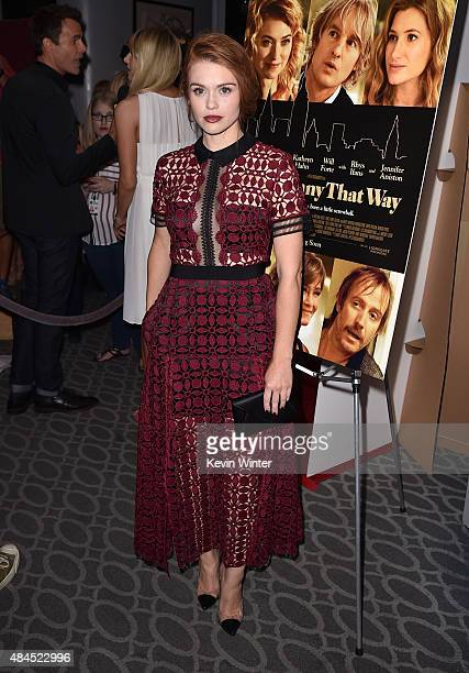 Actress Holland Roden attends the premiere of Lionsgate Premiere's 'She's Funny That Way' at Harmony Gold on August 19 2015 in Los Angeles California