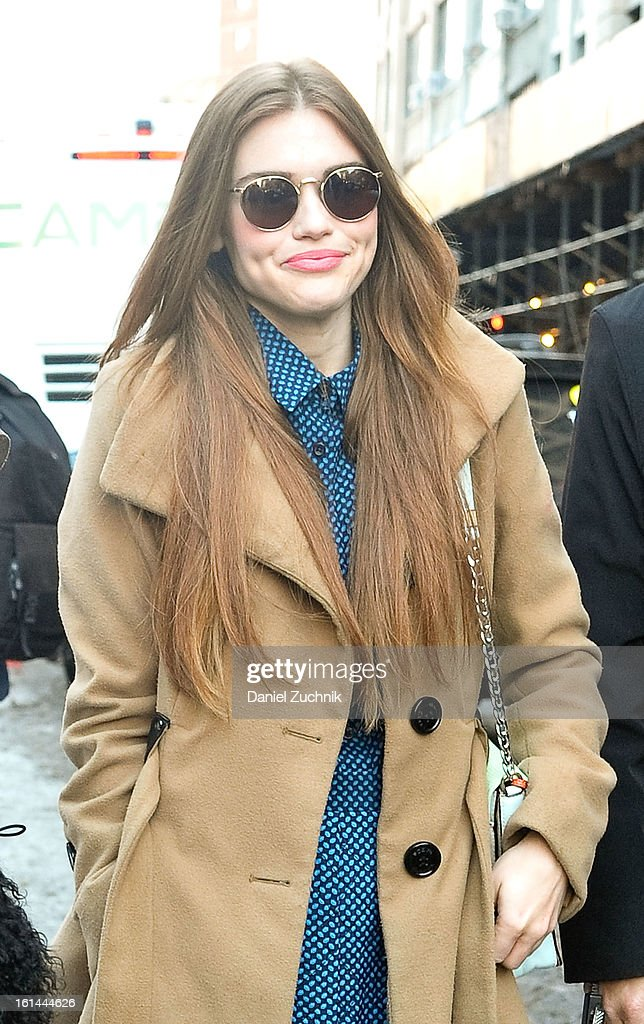Actress Holland Roden seen outside the DKNY show on February 10, 2013 in New York City.