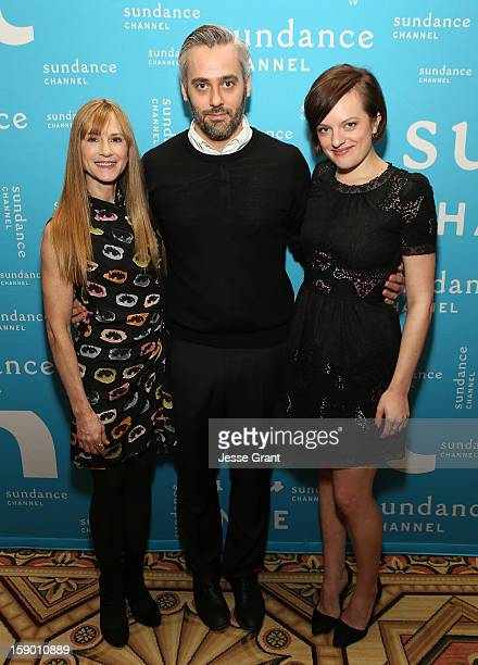 Actress Holly Hunter executive producer Iain Canning and actress Elisabeth Moss attend the Sundance Channel 2013 Winter TCA Panel at The Langham...
