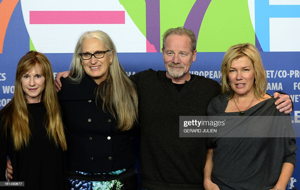 US actress Holly Hunter, New Zealand director Jane Campion, actor Peter Mullan and New Zealand actress Robyn Malcom pose before a press conference for the film 'Top of the lake' presented in the Berlinale Special of the 63rd Berlin International Film Festival in Berlin on February 11, 2013.