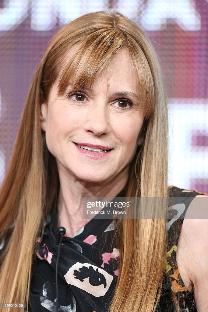 Actress Holly Hunter speaks onstage at the 'Top of the Lake' panel discussion during the Sundance Channel portion of the 2013 Winter TCA Tour- Day 2 at Langham Hotel on January 5, 2013 in Pasadena, California.