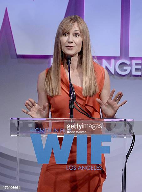 Actress Holly Hunter speaks onstage during Women In Film's 2013 Crystal Lucy Awards at The Beverly Hilton Hotel on June 12 2013 in Beverly Hills...