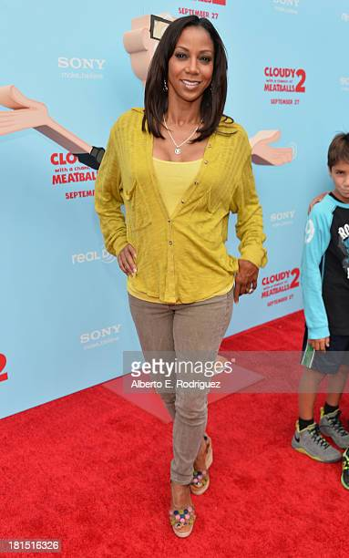 Actress Holly Robinson Peete arrives to the premiere of Columbia Pictures and Sony Pictures Animation's 'Cloudy With A Chance of Meatballs 2' at the...