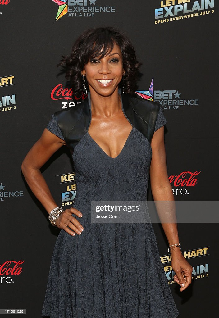 Actress <a gi-track='captionPersonalityLinkClicked' href=/galleries/search?phrase=Holly+Robinson+Peete&family=editorial&specificpeople=213716 ng-click='$event.stopPropagation()'>Holly Robinson Peete</a> attends Movie Premiere 'Let Me Explain' with Kevin Hart during the 2013 BET Experience at Regal Cinemas L.A. Live on June 27, 2013 in Los Angeles, California.