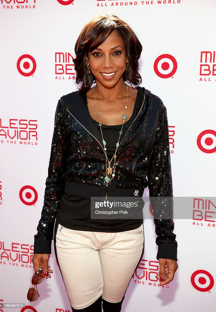 "Actress Holly Robinson Peete with Mindless Behavior at Universal CityWalk for the premiere of ""All Around The World"" & a performance presented by Target at Universal CityWalk on March 10, 2013 in Universal City, California."