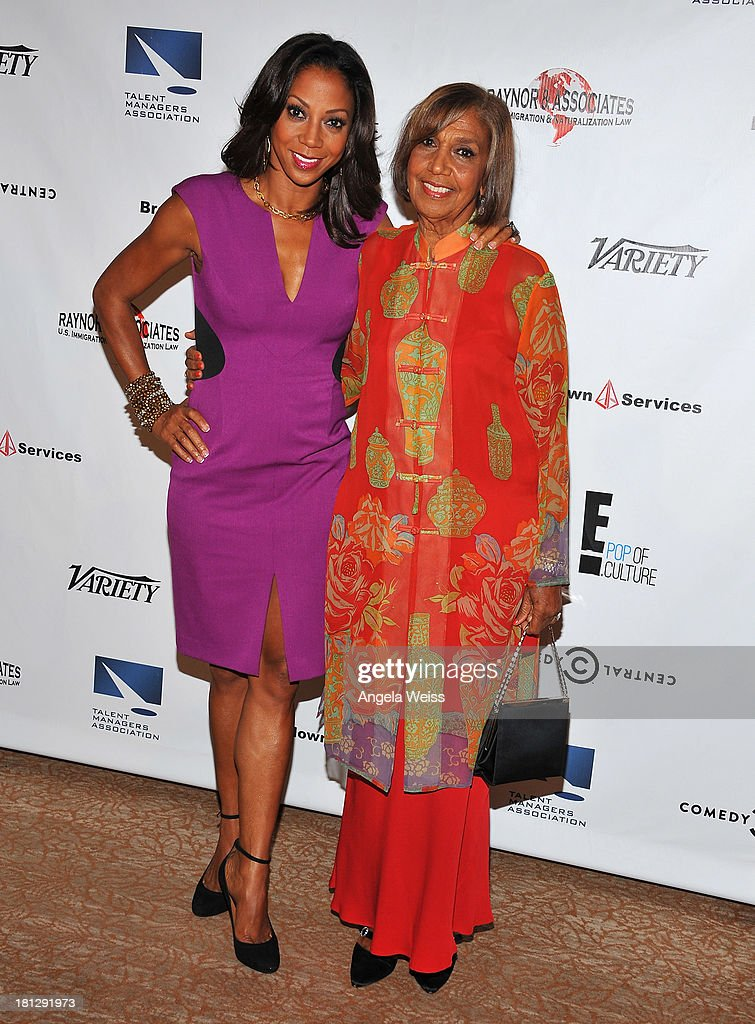 Actress Holly Robinson-Peete and talent manager Dolores Robinson attend the 12th Annual Heller Awards at The Beverly Hilton Hotel on September 19, 2013 in Beverly Hills, California.