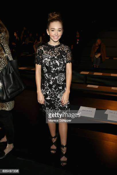 Actress Holly Taylor attends the Vivienne Tam Runway Show during New York Fashion Week The Shows at Gallery 1 Skylight Clarkson Sq on February 15...