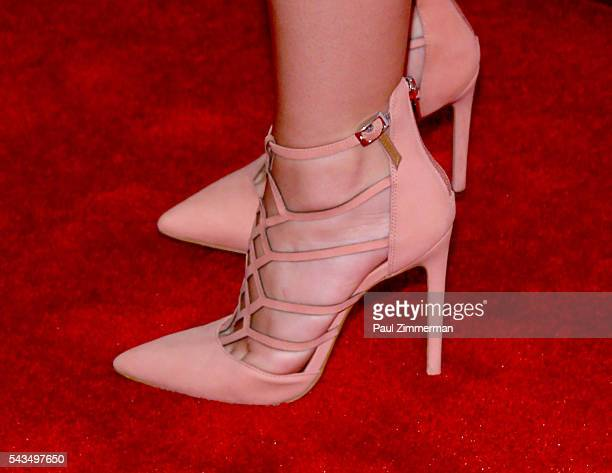 Actress Holly Taylor shoe detail at 'SexDrugsRockRoll' Season 2 Premiere at AMC Loews 34th Street 14 theater on June 28 2016 in New York City