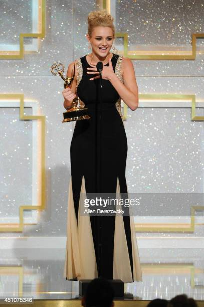 Actress Hunter King accepts Outstanding Younger Actress in a Drama Series for 'The Young and the Restless' Emmy Award onstage during the 41st Annual...