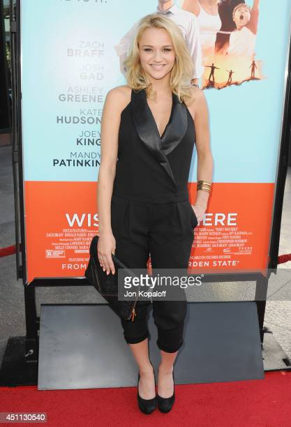 Actress Hunter King arrives at the Los Angeles Premiere 'Wish I Was Here' at the DGA on June 23 2014 in Hollywood California