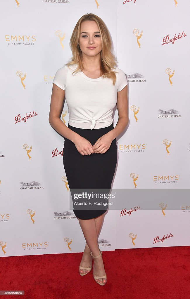 Actress <a gi-track='captionPersonalityLinkClicked' href=/galleries/search?phrase=Hunter+King&family=editorial&specificpeople=9938218 ng-click='$event.stopPropagation()'>Hunter King</a> attends a cocktail reception hosted by the Academy of Television Arts & Sciences celebrating the Daytime Peer Group at Montage Beverly Hills on August 26, 2015 in Beverly Hills, California.