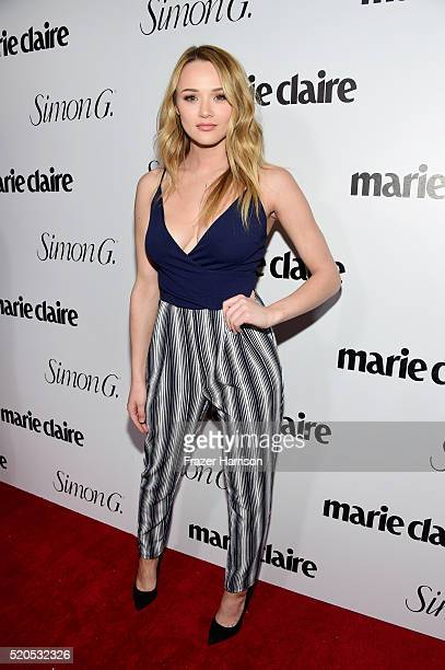 Actress Hunter King attends the 'Fresh Faces' party hosted by Marie Claire celebrating the May issue cover stars on April 11 2016 in Los Angeles...