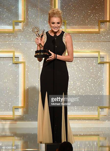 Actress Hunter King onstage during The 41st Annual Daytime Emmy Awards at The Beverly Hilton Hotel on June 22 2014 in Beverly Hills California