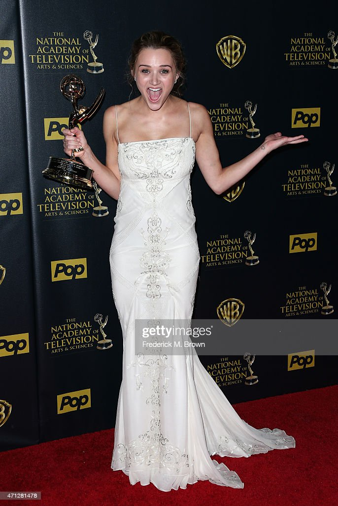 Actress <a gi-track='captionPersonalityLinkClicked' href=/galleries/search?phrase=Hunter+King&family=editorial&specificpeople=9938218 ng-click='$event.stopPropagation()'>Hunter King</a>, winner of the Outstanding Younger Actress in a Drama Series award for 'The Young and the Restless' poses in the press room during The 42nd Annual Daytime Emmy Awards at Warner Bros. Studios on April 26, 2015 in Burbank, California.